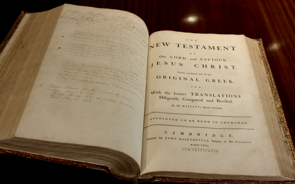 Saved! Matthew Boulton's family Baskerville Bible